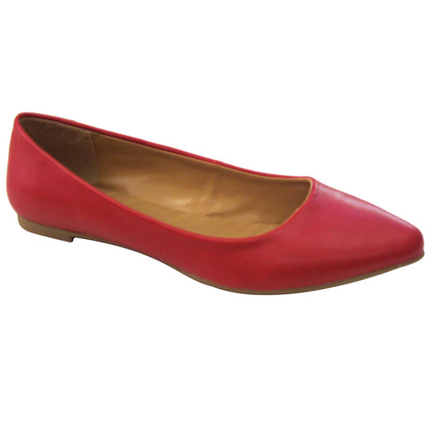City Classified Sadler-S Pointy Vegan Ballerina Flats (red)