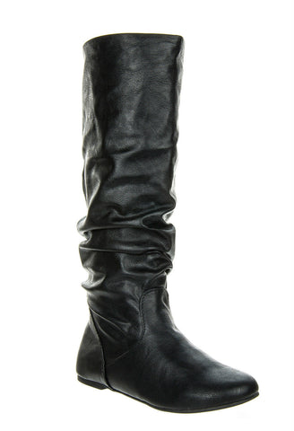 Soda - Women's Zulu Faux Leather Slouchy Boots - Black - Size 6