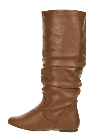 Soda - Women's Zulu Faux Leather Slouchy Boots - Tan - Size 6