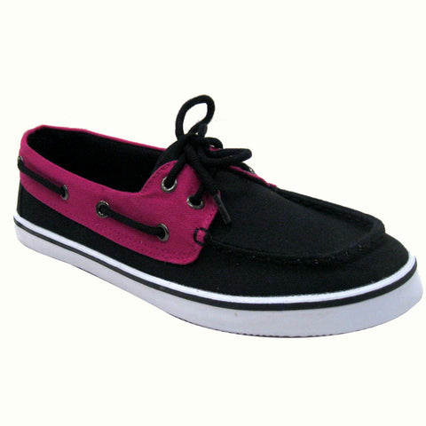 Cupid - Women's VEGAN canvas Boat Shoes (black & magenta)