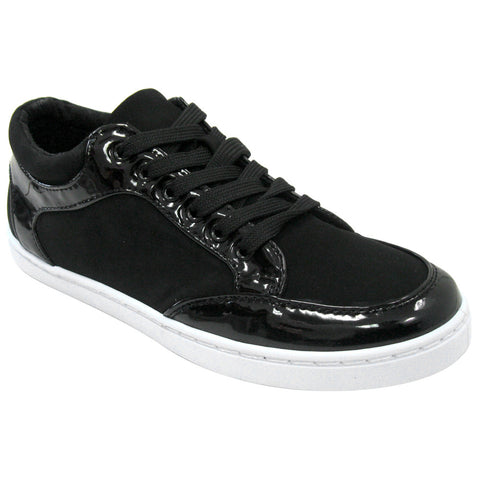 Qupid Trivia-35A Patent and Nubuck Vegan Sneakers (black)