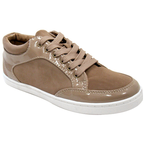 Qupid - Women's Patent & Nubuck VEGAN Sneakers - Clearance (taupe)