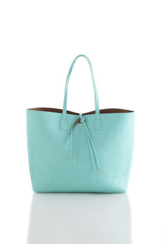Shiraleah Olivia Reversible Tote in Aqua and Rust Brown Vegan Leather