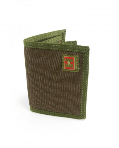 Hemp Bi-fold Wallet Brown with Green Trim by Hempy's