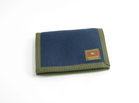 Hemp Bi-fold Wallet Blue with Green Trim by Hempy's