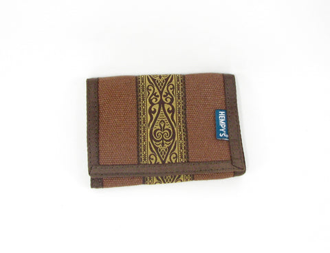 Hemp Tri-fold Wallet Brown and Tribal with Brown Trim made in U.S.A. by Hempy's