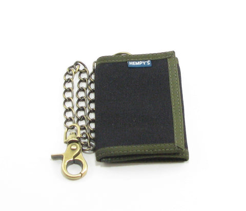 Hempy's Tri-Fold Wallet Black with Green Trim, Chain, 100% Hemp