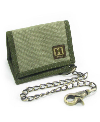 Hemp Tri-fold Chain Wallet Green with Green Trim
