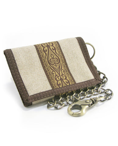 Hempy's Tri-Fold Wallet Natural, Tribal with Brown Trim, Chain, 100% Hemp