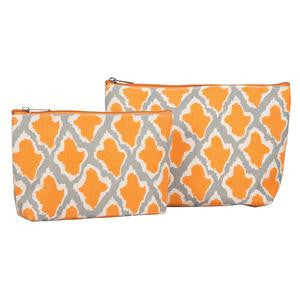 RockFlowerPaper Sumba Orange Cosmetic Bags Set of 2. Vegan Friendly.