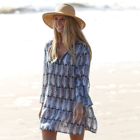Fronds Black Beach Tunic by RockFlowerPaper Size X-Large