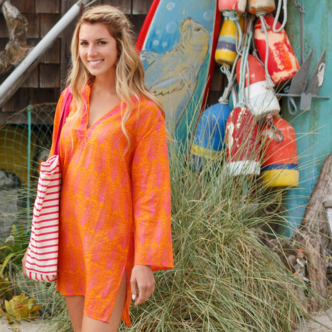 Fronds Orange Beach Tunic by RockFlowerPaper Size X Large