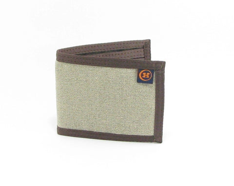 Hemp Slim Line Wallet Natural with Brown Trim made in U.S.A. by Hempy's