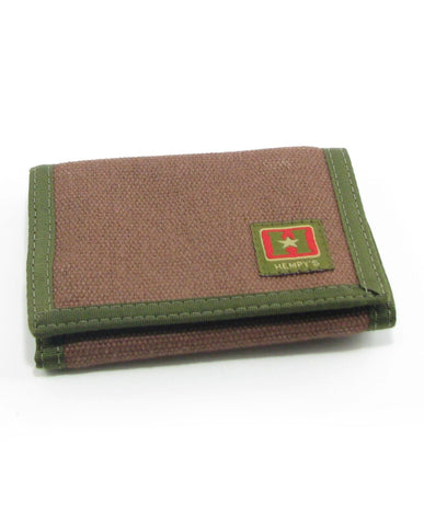 Hemp Tri-fold Wallet Brown with Green Trim made in U.S.A. by Hempy's