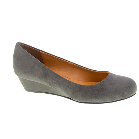CL By Laundry Marcie Versatile Suede Wedge Heel (Charcoal Color)