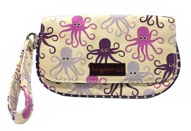 Bungalow360 Vegan Wristlet in Cotton Canvas Octopus 51118-OC