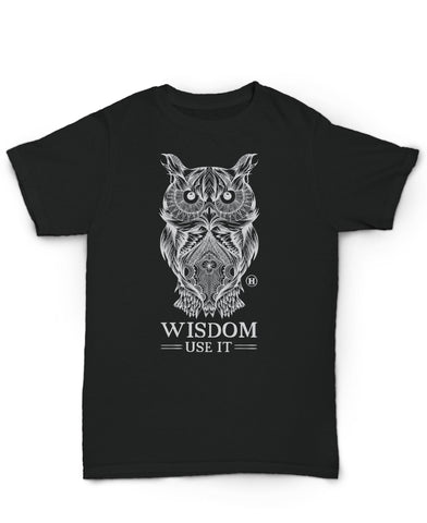 Hemp T Shirt Totem Series Owl Black Wisdom made in U.S.A. by Hempy's. Size Large.