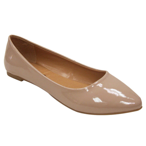City Classified Sadler-S Vegan Patent Pointy Flats (nude, size 6.5)