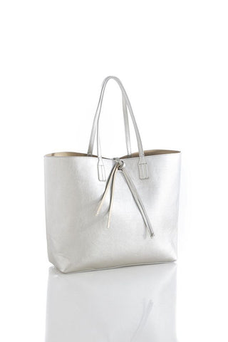 Shiraleah Olivia Reversible Tote in Silver Vegan Leather