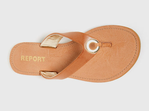 Sadey Sandal in Tan Vegan Leather. Report Footwear. Size 8.