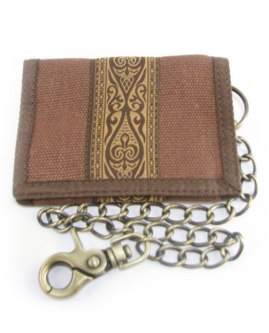 Hempy's Tri-Fold Wallet Brown, Tribal with Brown Trim, Chain, 100% Hemp
