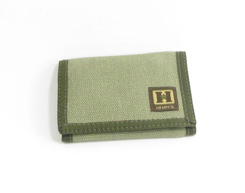 Hemp Tri-fold Wallet Green with Green Trim made in U.S.A. by Hempy's