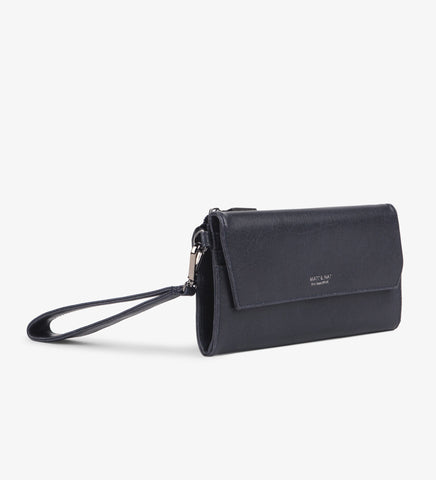 Matt and Nat Mercer Vintage Wristlet Wallet. Stylish Vegan Leather in Midnight Blue.