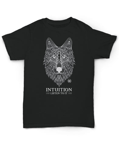 Hemp T Shirt Totem Series Wolf Black Intuition made in U.S.A. by Hempy's. Size Large.
