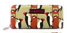 Bungalow360 Vegan Zip Around Wallet New Design! (Woodpecker)