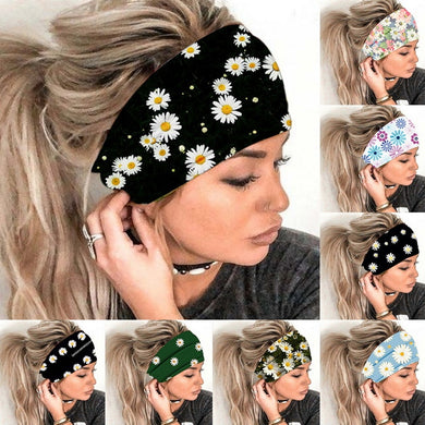 Flowers Printed Women Wide Turban Elastic Stretch Headband 2020 Girls Hair Head Bands Wrap Accessories Fashion Sports Hairband