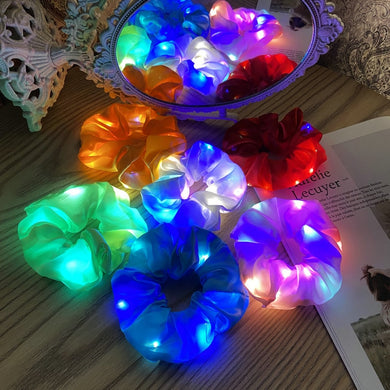 LED Luminous Large Intestine Hair Ring Net Red Head Rope Bar Bungee Hair Rope Korean Simple Rubber Band Hair Accessories