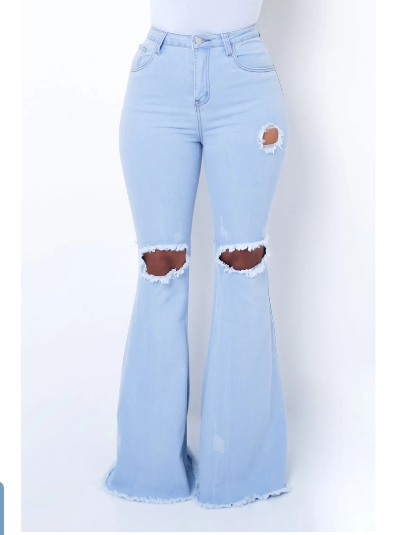 Knee Hole Stretch Denim