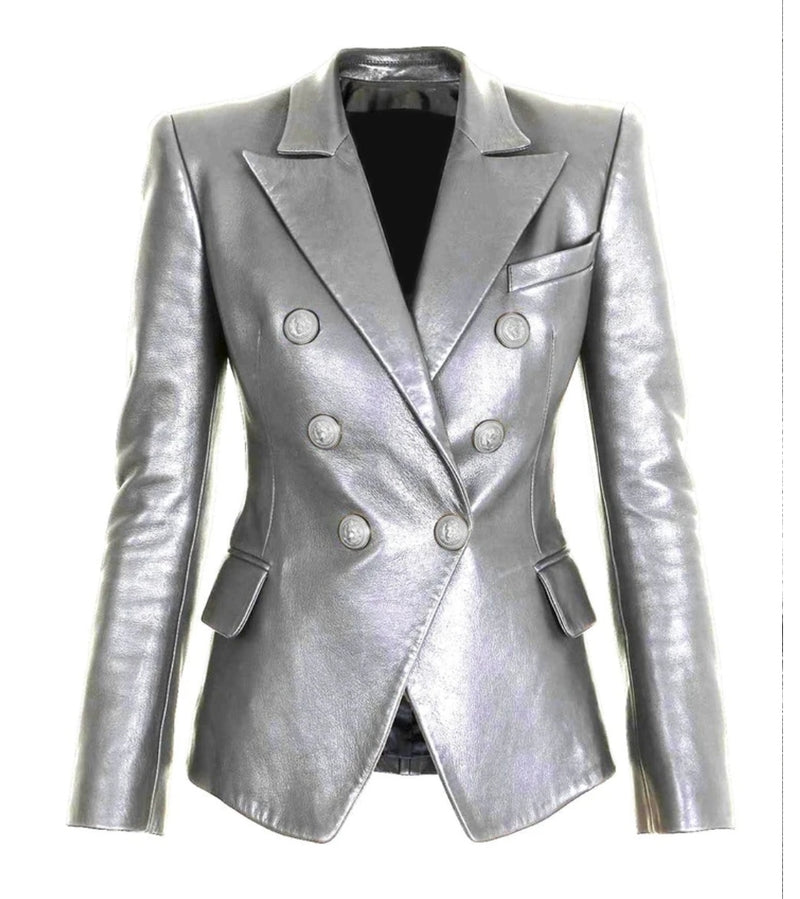 Double Breasted Metallic Blazer