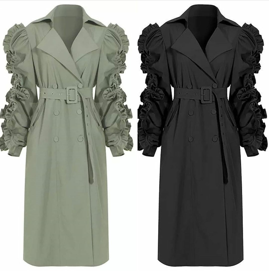 Extreme Ruffle Sleeve Trench
