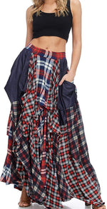 Plaid Damsel Maxi Skirt