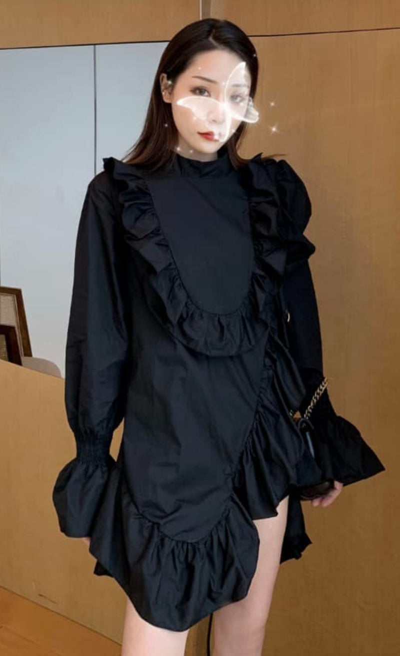 Asymmetrical Ruffle Placket Mini