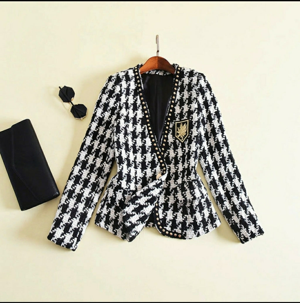 Houndstooth Gold Detail Blazer