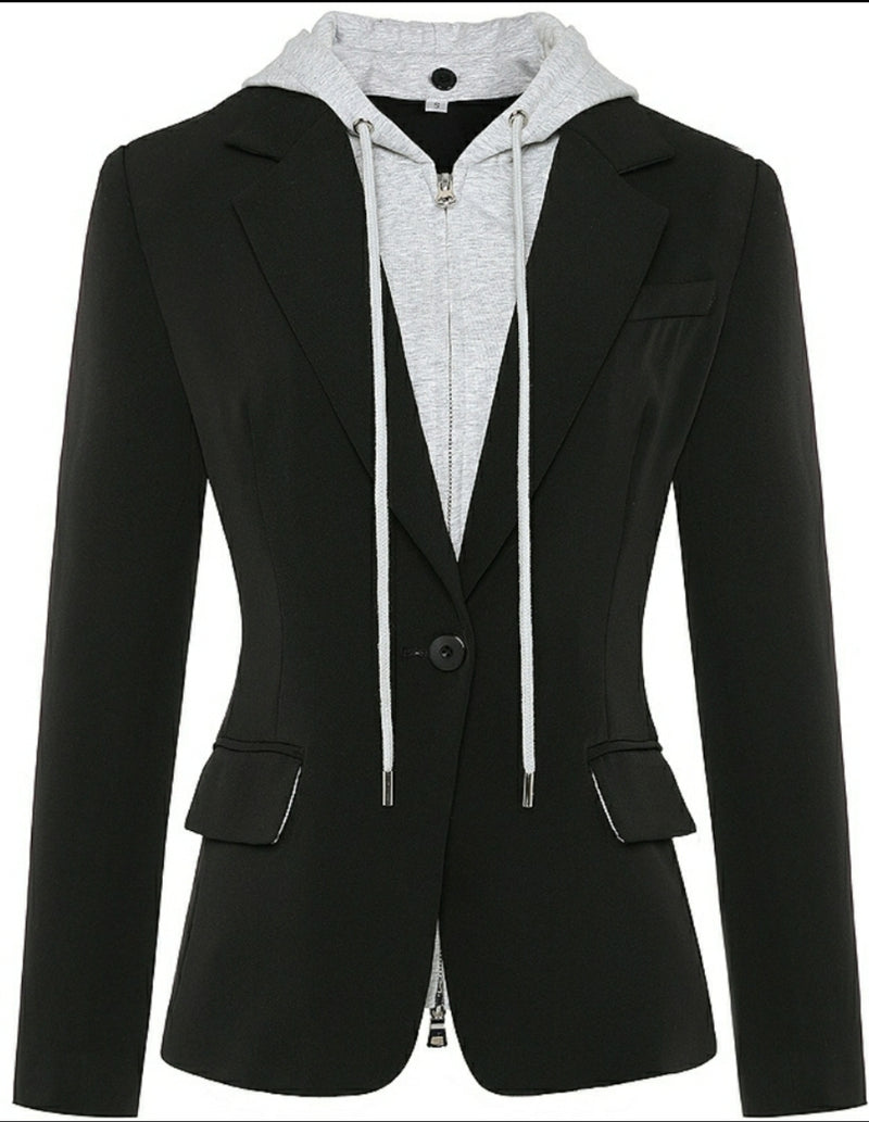 Detachable Hooded Blazer