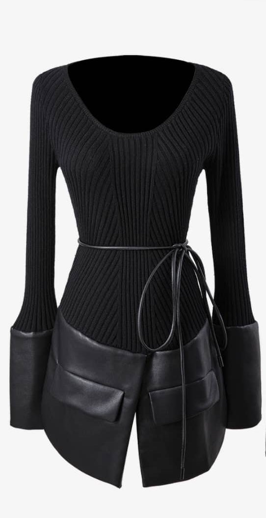 Vegan Leather Detail Tunic