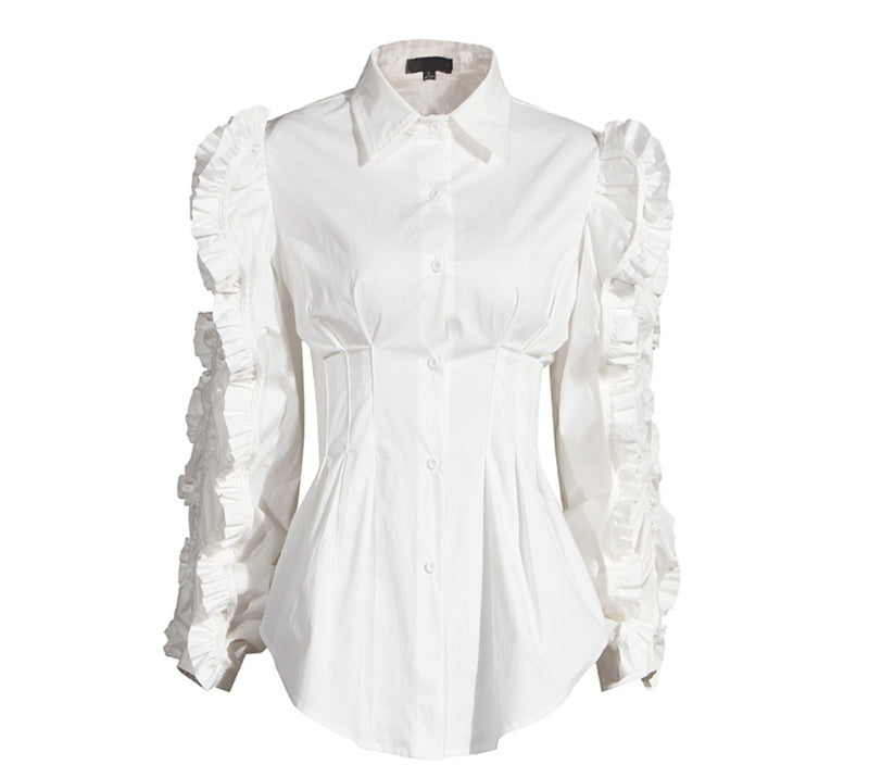 Extreme Ruffle Sleeve Button Up