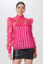 Striped Organza Puff Sleeve Top