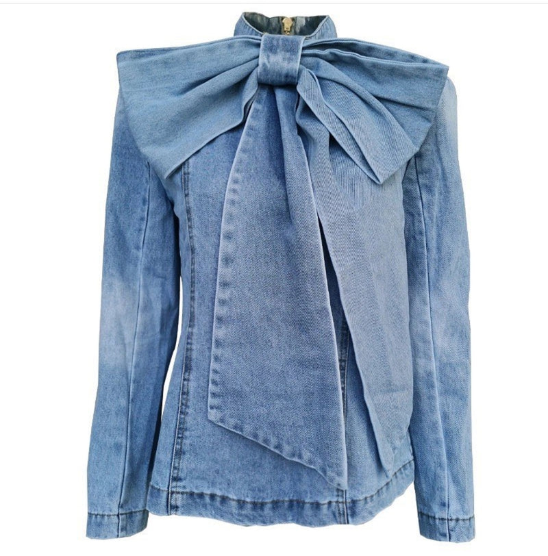 Denim Gigantic Bow Blouse