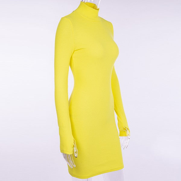 Mock Neck Slim Dress