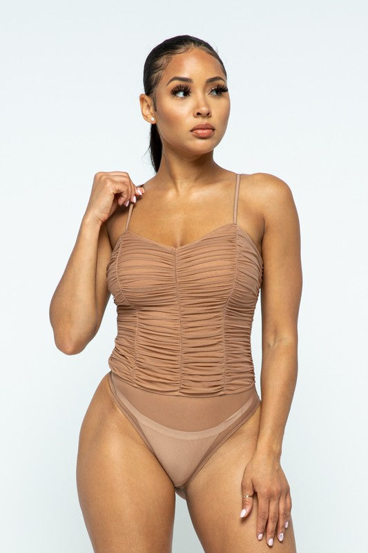 Ruched Mesh Bodysuit