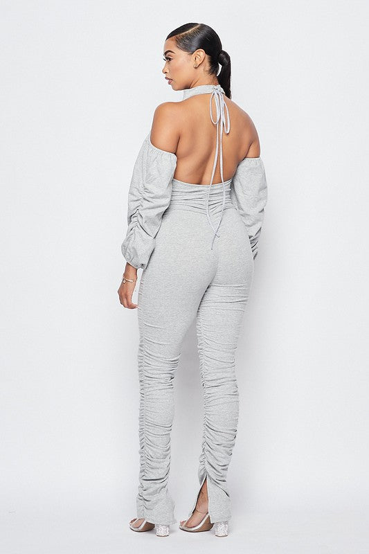 Ruched Open Back Jumpsuit