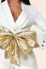 Metallic Gold Bow Romper
