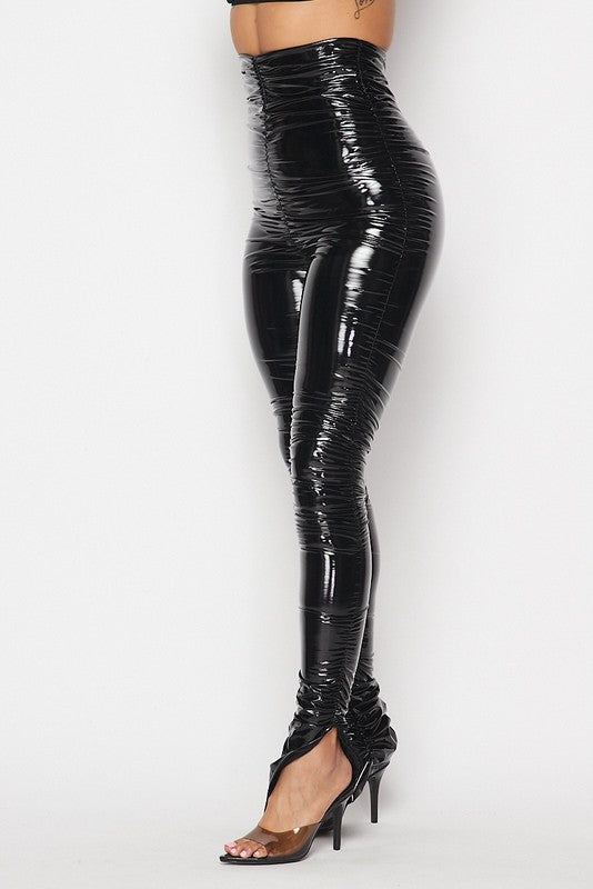 Vinyl Ruched Slit Ankle Legging