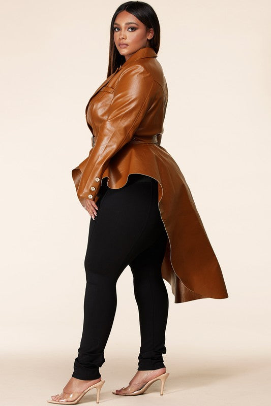 Veg Leather Hi Lo Peplum Jacket