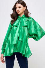 Satin Shadow Stripe Bow Blouse