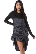 Shirred Front Hoodie Dress